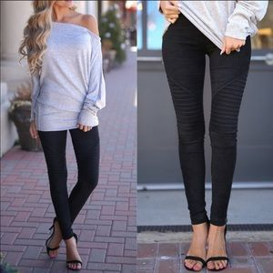 Faux Suede Leggings in Black